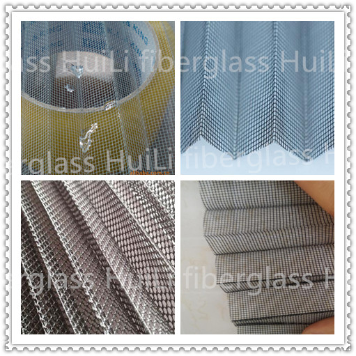 Grey and Black Color PP Pleated Window Screen Mesh for Construction